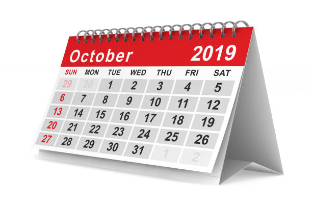 2019 year. Calendar for October. Isolated 3D illustration stock photo