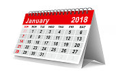 istock 2018 year calendar. January. Isolated 3D illustration 817545076