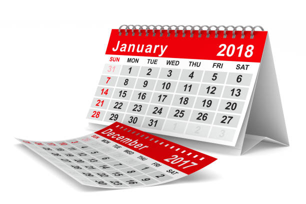 2018 year calendar. January. Isolated 3D illustration stock photo