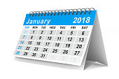 istock 2018 year calendar. January. Isolated 3D illustration 856956798