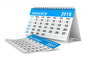 istock 2018 year calendar. January. Isolated 3D illustration 860495490