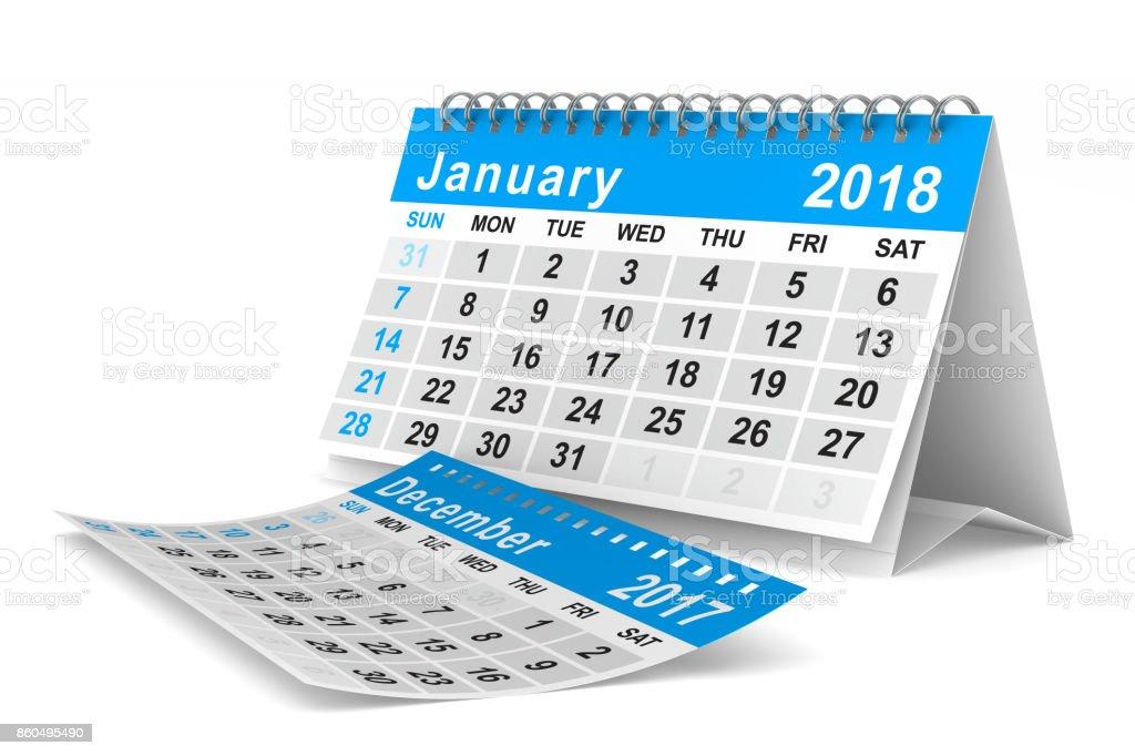 Kalender für das Jahr 2018. Januar. Isolierte 3D-Illustration – Foto