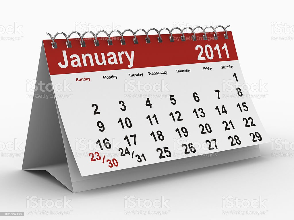 2011 year calendar. January. Isolated 3D image royalty-free stock photo