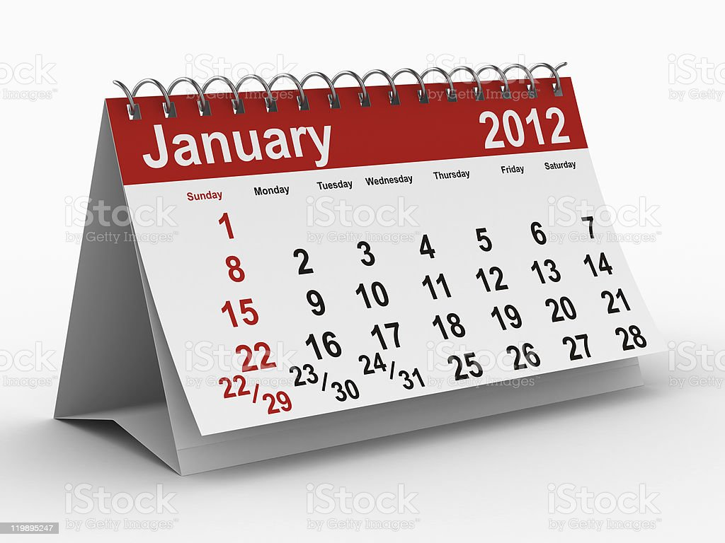 2012 year calendar. January. Isolated 3D image royalty-free stock photo