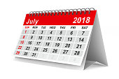 istock 2018 year calendar. July. Isolated 3D illustration 817545158
