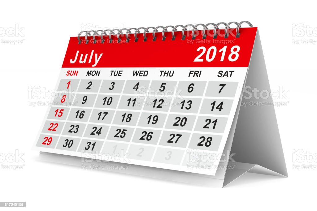 2018 year calendar. July. Isolated 3D illustration stock photo