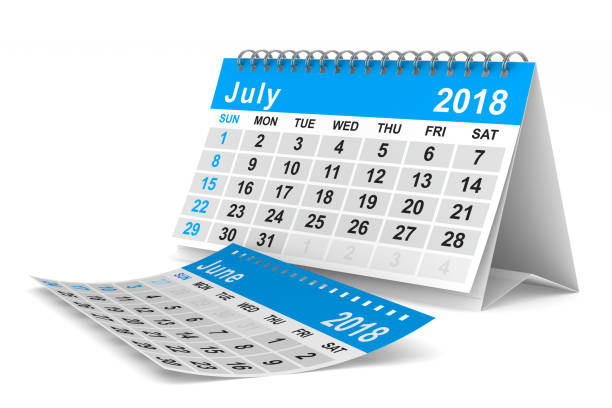 2018 year calendar. july. isolated 3d illustration - july stock photos and pictures