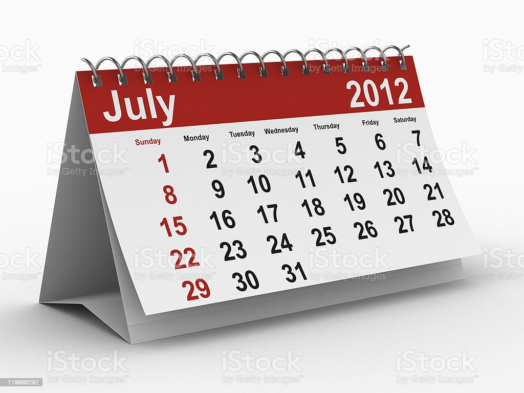 2012 year calendar. July. Isolated 3D image royalty-free stock photo