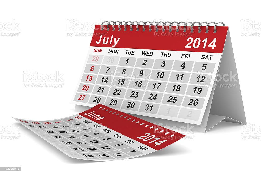 2014 year calendar. July. Isolated 3D image royalty-free stock photo