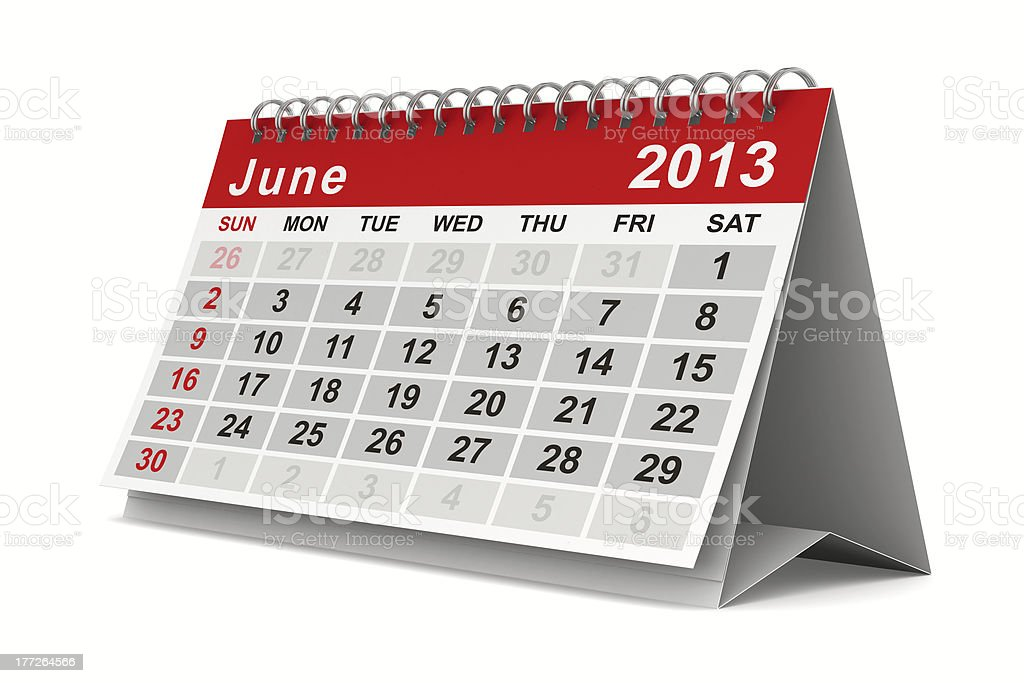 2013 year calendar. June. Isolated 3D image royalty-free stock photo