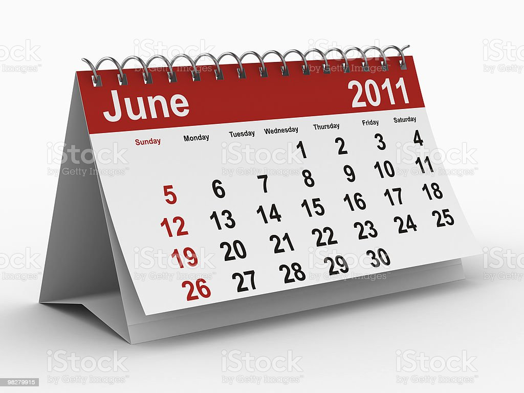 2011 year calendar. June. Isolated 3D image royalty-free stock photo