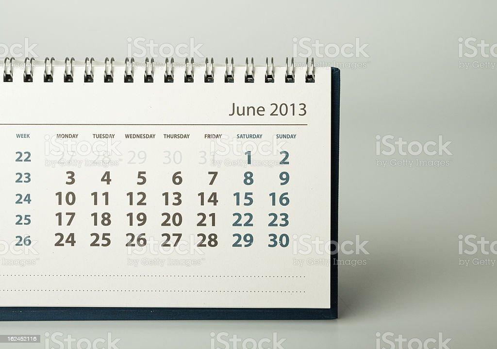 Year calendar. June royalty-free stock photo