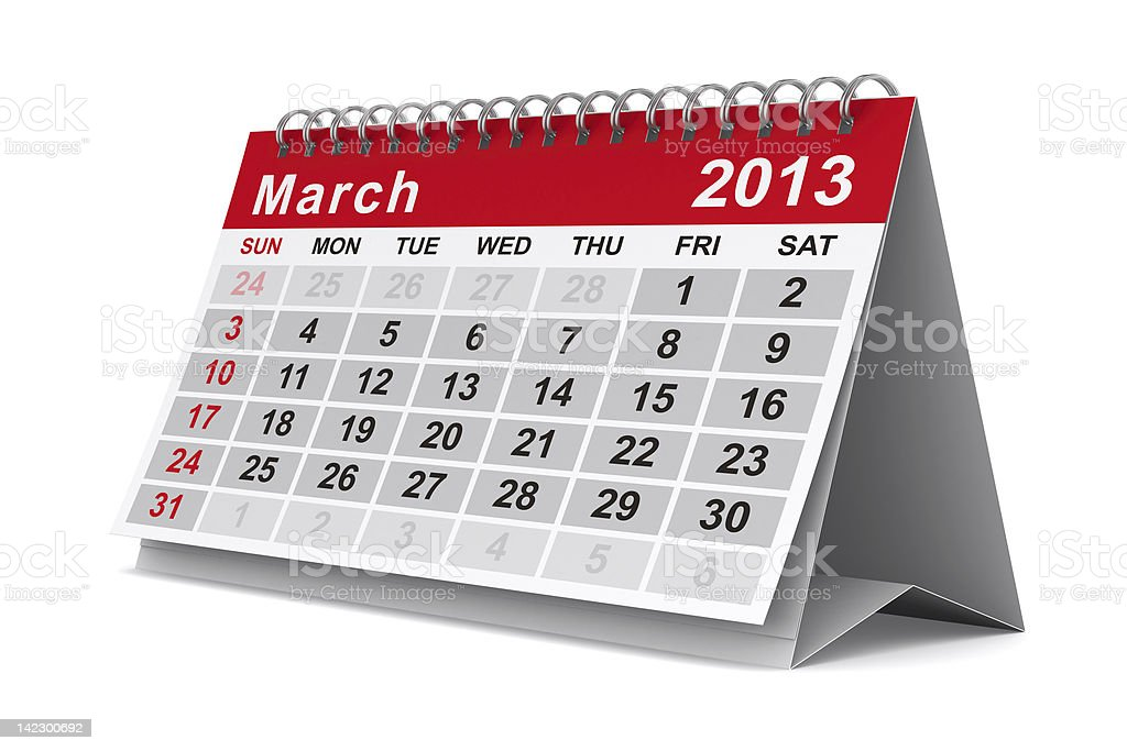 2013 year calendar. March. Isolated 3D image royalty-free stock photo