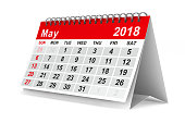 istock 2018 year calendar. May. Isolated 3D illustration 817545096