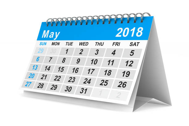 2018 year calendar. May. Isolated 3D illustration stock photo