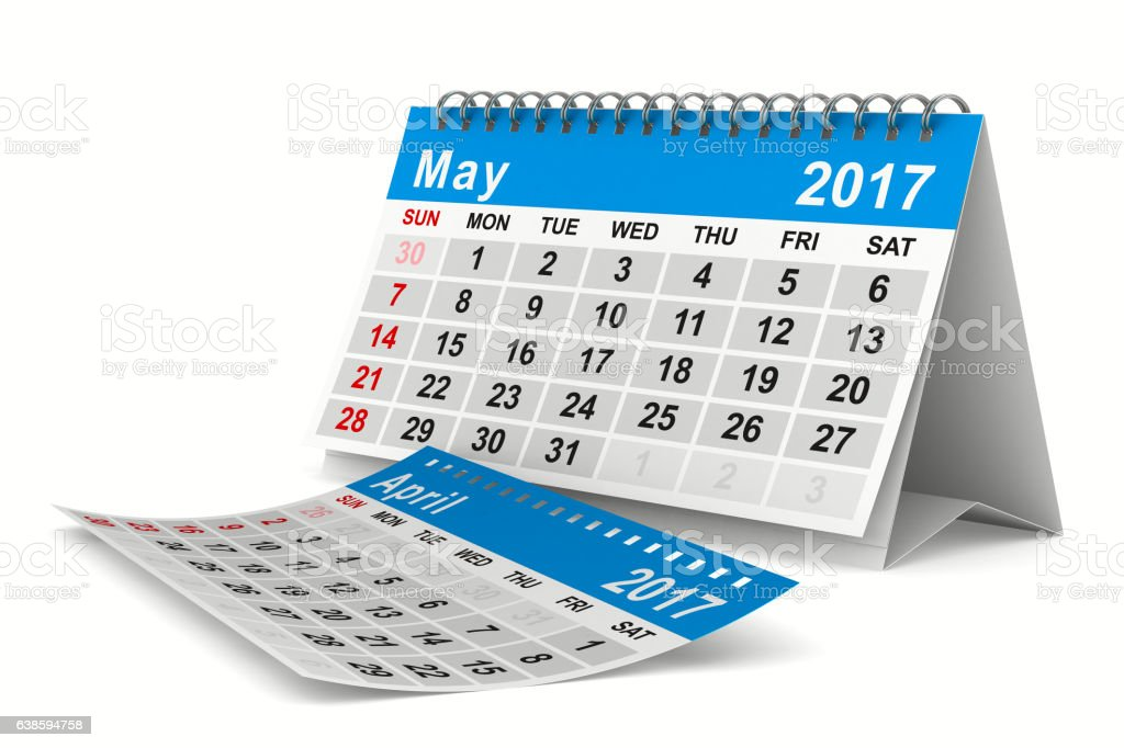 2017 year calendar. May. Isolated 3D image vector art illustration