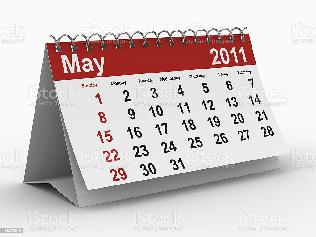 2011 year calendar. May. Isolated 3D image royalty-free stock photo