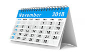 istock 2018 year calendar. November. Isolated 3D illustration 856956794