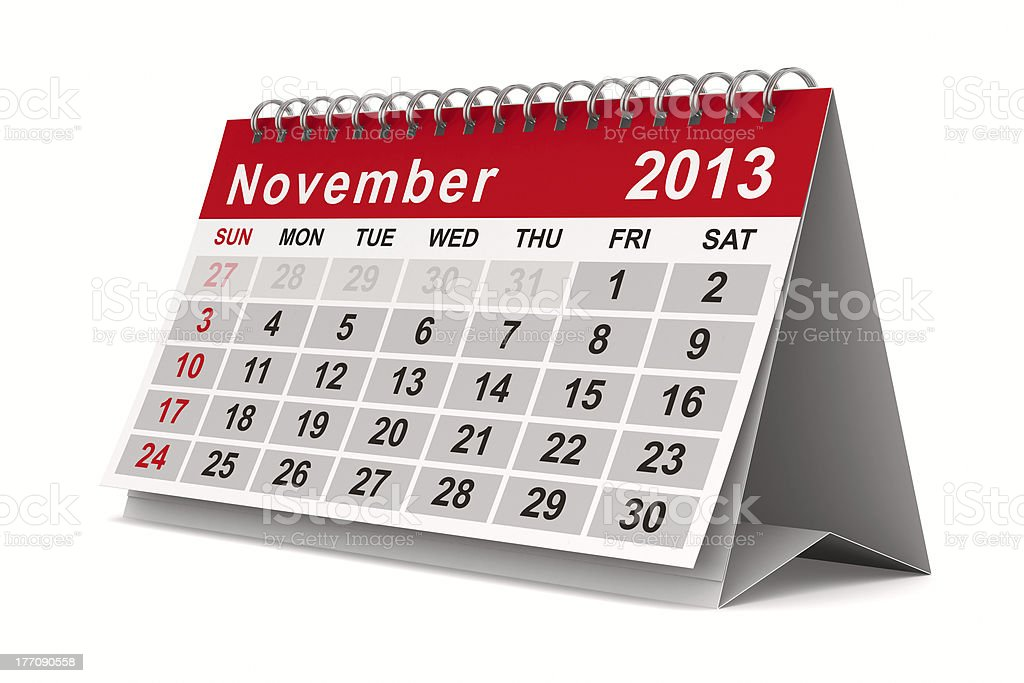 2013 year calendar. November. Isolated 3D image royalty-free stock photo