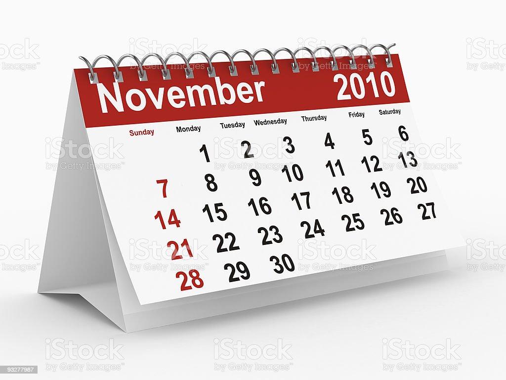 2010 year calendar. November. Isolated 3D image. royalty-free stock photo
