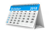 istock 2018 year calendar. October. Isolated 3D illustration 856956778