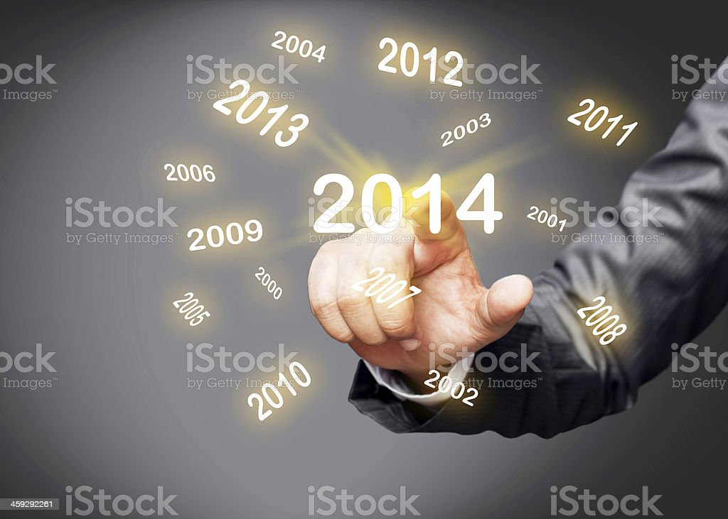 2014 year calendar on touch screen stock photo