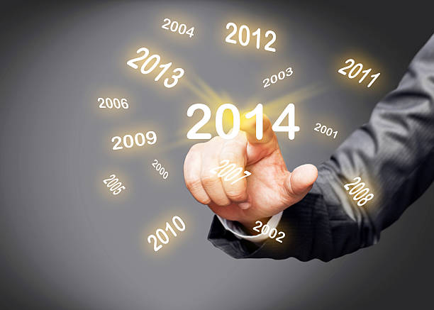 2014 year calendar on touch screen - 2000 2009 stock pictures, royalty-free photos & images