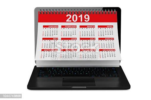 istock 2019 Year Calendar over Laptop Screen. 3d Rendering 1044743858