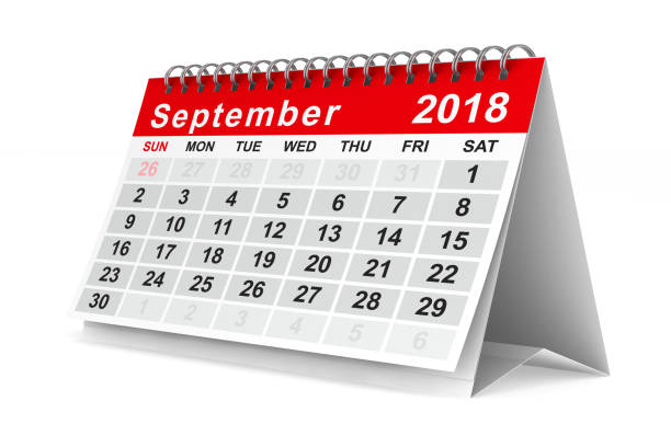 2018 year calendar. september. isolated 3d illustration - september stock photos and pictures