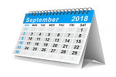 istock 2018 year calendar. September. Isolated 3D illustration 856956808