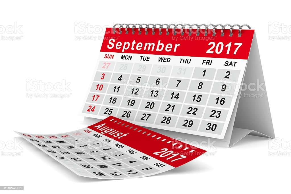 2017 year calendar. September. Isolated 3D image stock photo