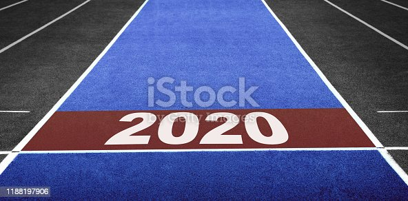 istock 2020 Year Concept. Start Line for Ready to Moving Forward. New Year Challenge 1188197906