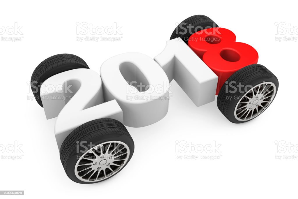 2018 Year Concept with Car Wheels. 3d Rendering stock photo