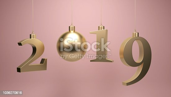 istock 2019 year concept with new year tree ornament 1036270616