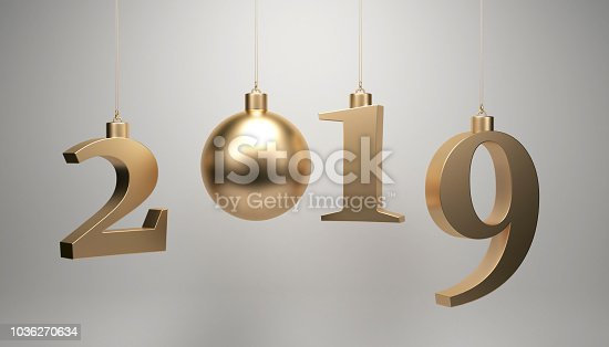 istock 2019 year concept with new year tree ornament 1036270634