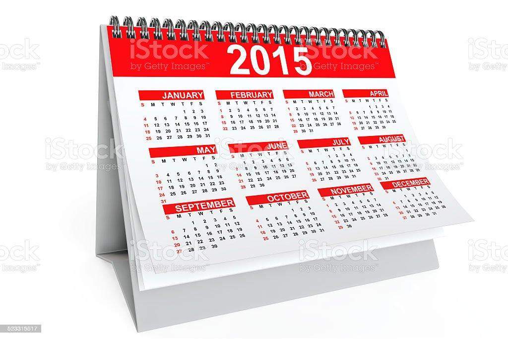 2015 year desktop calendar stock photo