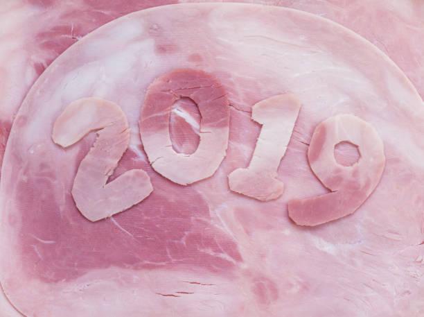 2019 jahr machte ziffern von der schweineschinken - chinesischer kalender stock-fotos und bilder