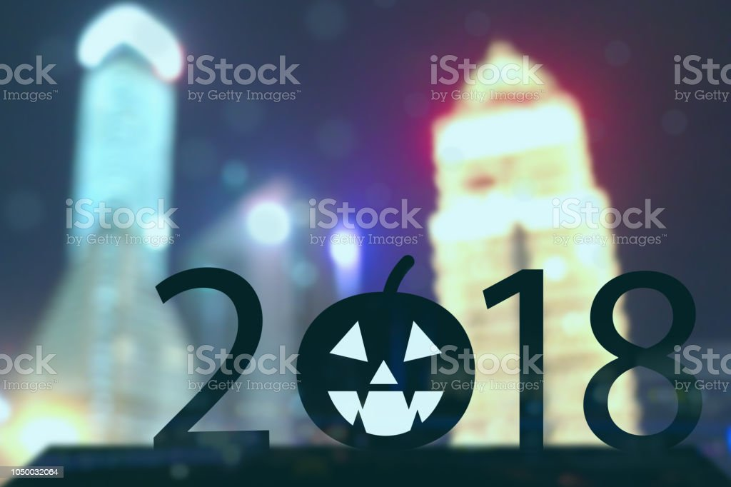 2018 year halloween concept, Silhouette  Business man stand with pumpkin Jack O'Lantern happy halloween trend stock photo