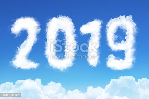 istock 2019 year in the form of clouds in the blue sky, new year. 1081912428