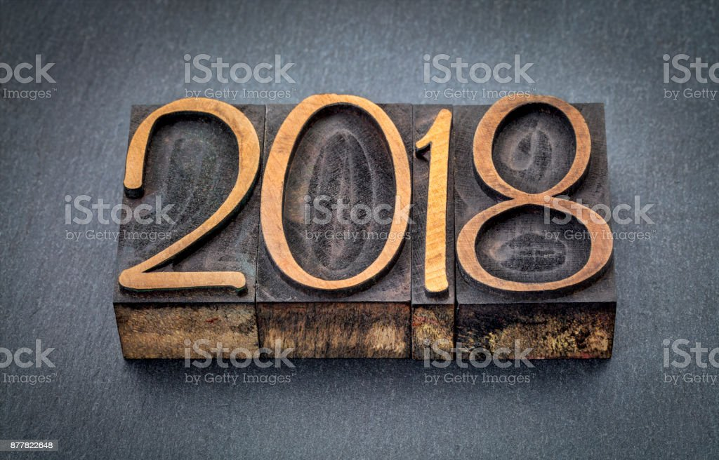2018 year in wood type blocks stock photo