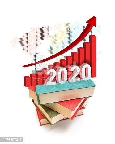 Year of 2020 Growth Chart model on the books of investment isolated