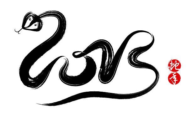 jahr der schlange 2013 (clipping path!) - chinesische zeichen tattoos stock-fotos und bilder