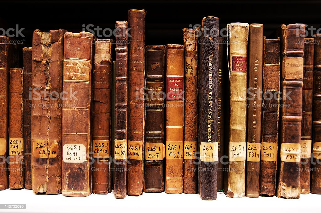 150+ Year old Antique Religious Books stock photo