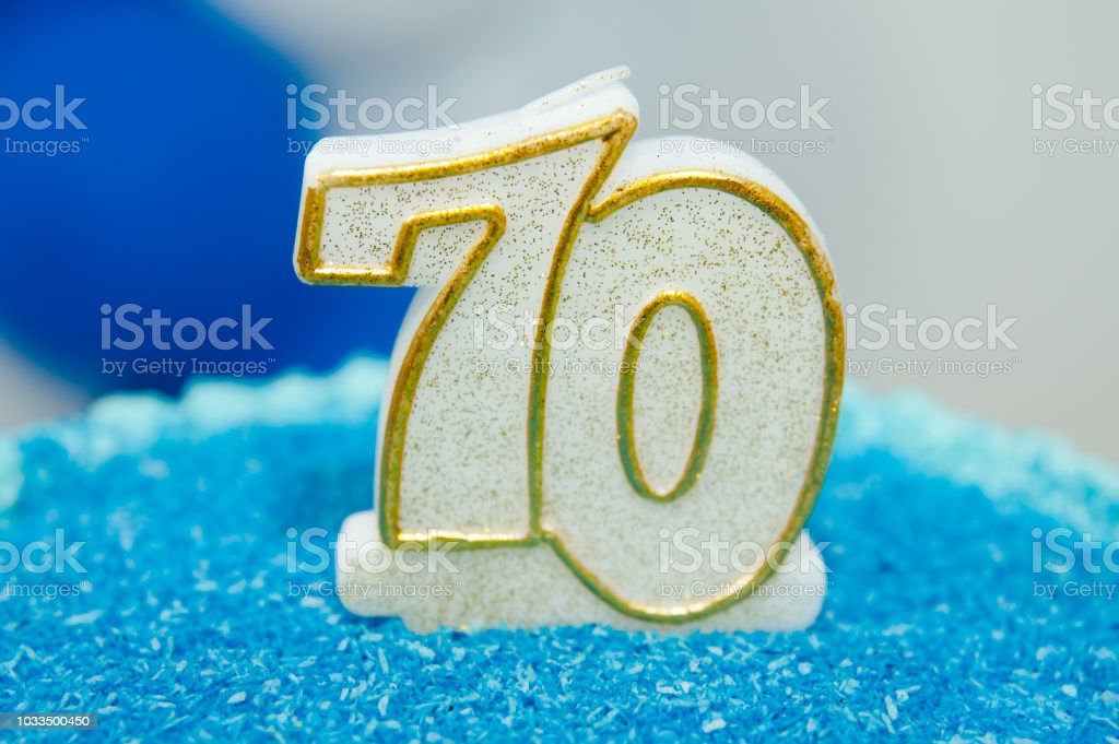 70 year old birthday candle. stock photo