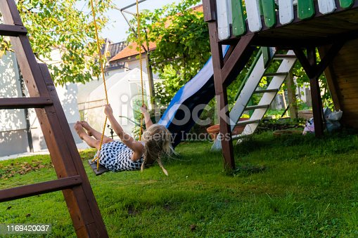 Little child blond girl having fun on a swing outdoor. Summer playground. Girl swinging high. Young child on swing in garden