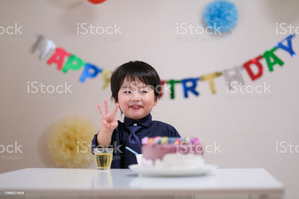 Pleasing 3 Year Old Child And His Birthday Cake Stock Photo Download Personalised Birthday Cards Veneteletsinfo