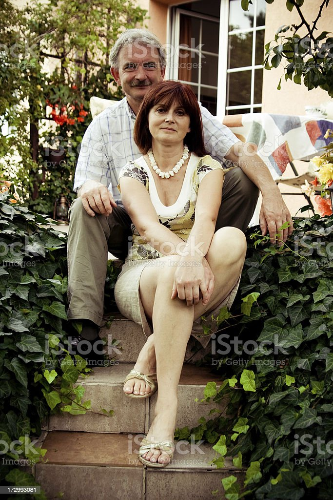 50 year old couple smiling stock photo