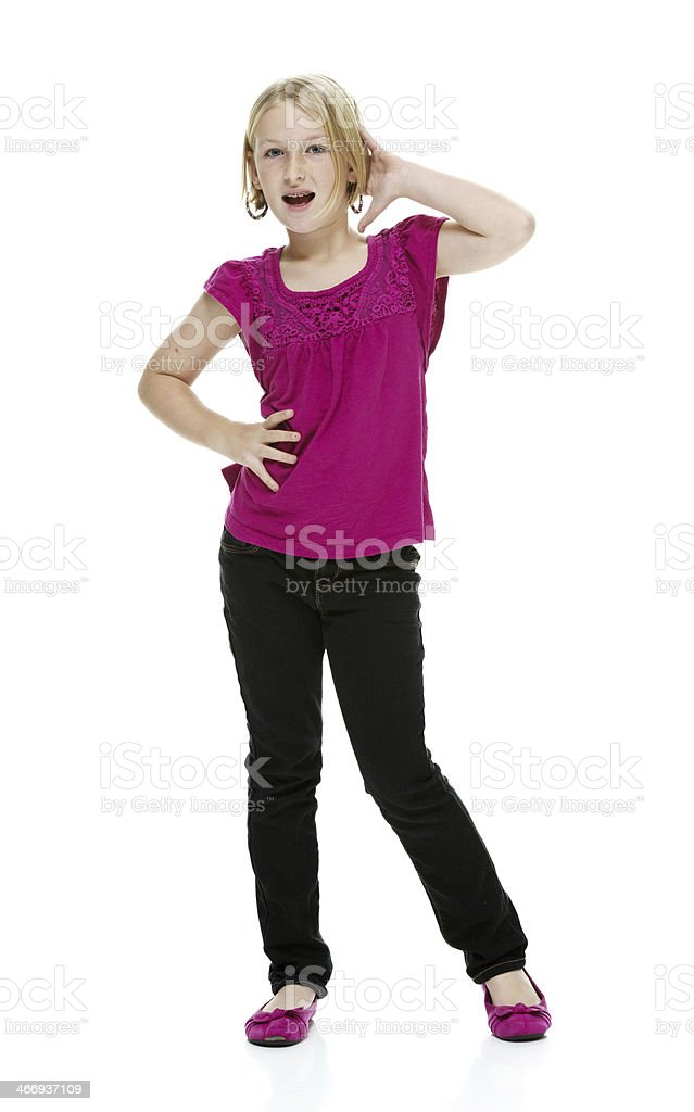 10 year old girl being playful stock photo
