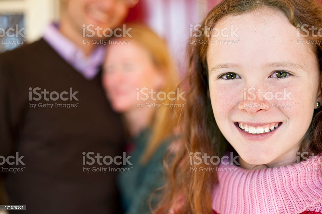 12 year old girl on home porch with happy smile royalty-free stock photo
