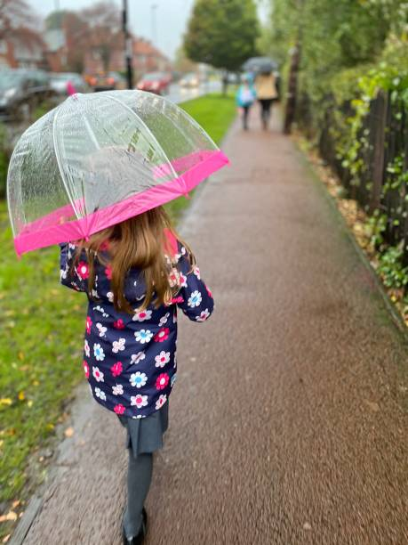 6 year old girl walking to school in the rain stock photo